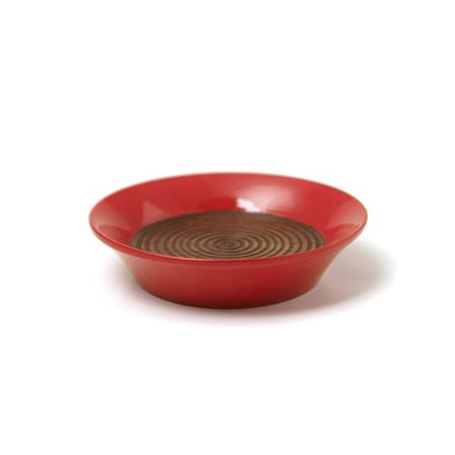 コースター(豆皿) 摺漆塗り(赤)