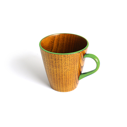 Vカップ摺漆塗り(黄緑塗)