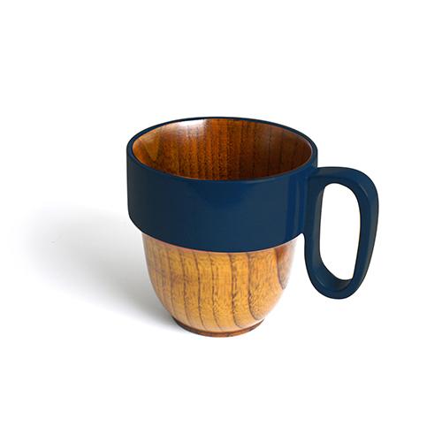 スタックマグカップ摺漆塗り(藍塗)