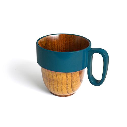 スタックマグカップ摺漆塗り(青塗)