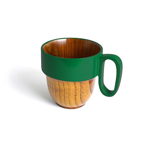スタックマグカップ摺漆塗り(緑塗)