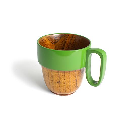 スタックマグカップ摺漆塗り(黄緑塗)
