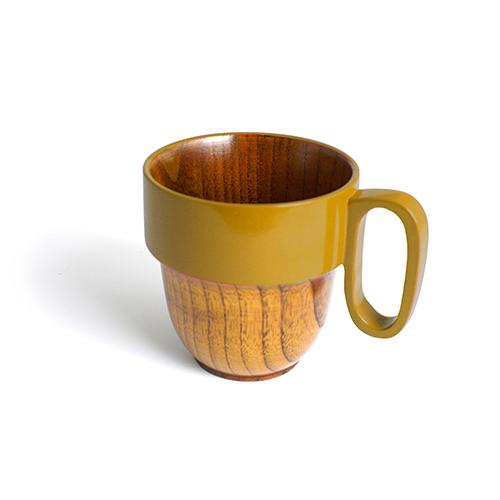 スタックマグカップ摺漆塗り(からし塗)