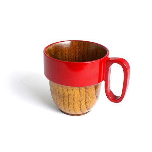 スタックマグカップ摺漆塗り(赤塗)