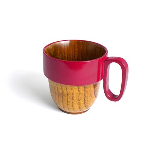 スタックマグカップ摺漆塗り(ピンク塗)