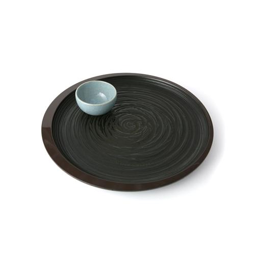 尺2丸茶盆三日月桟俵(象谷塗)