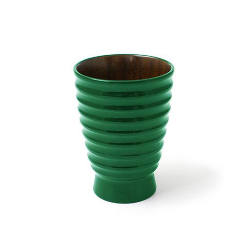 漆塗 筋入カップ(緑塗)