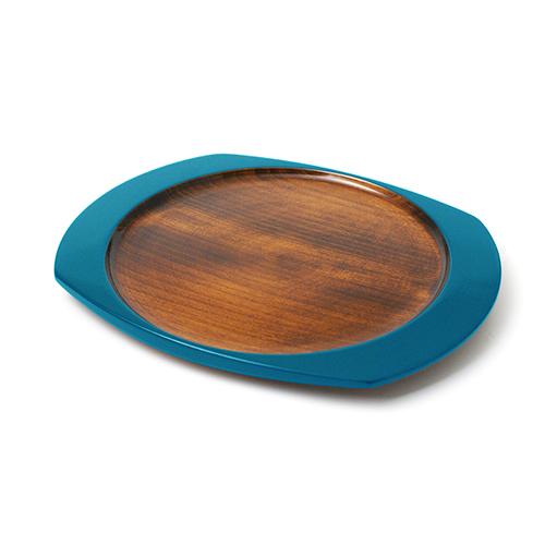 楕円皿(青塗)