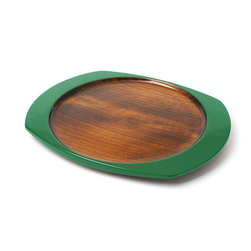 楕円皿(緑塗)