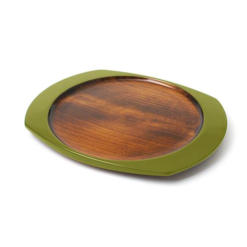 楕円皿(黄緑塗)