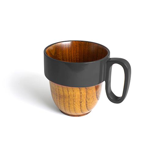 スタックマグカップ摺漆塗り(グレー塗)