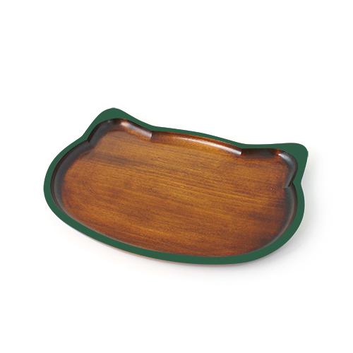 ねこトレイ摺漆塗 (緑)