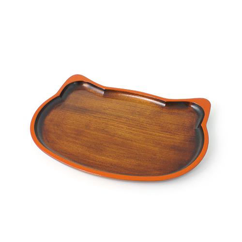 ねこトレイ摺漆塗 (オレンジ)