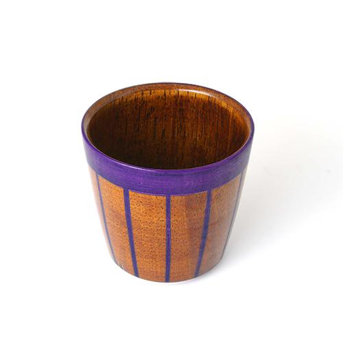 ストライプカップ木地呂塗り(むらさき塗)