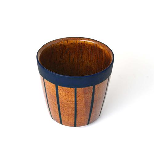 ストライプカップ木地呂塗り(藍塗)