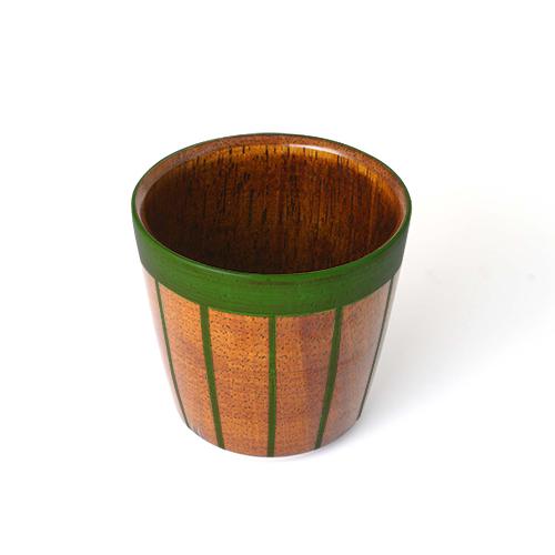 ストライプカップ木地呂塗り(緑塗)