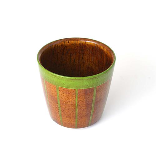 ストライプカップ木地呂塗り(黄緑塗)