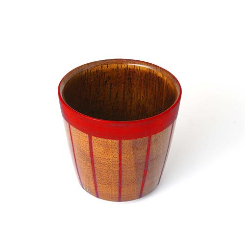 ストライプカップ木地呂塗り(赤塗)