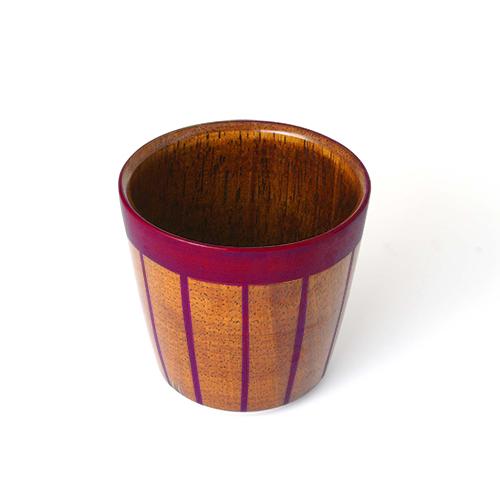 ストライプカップ木地呂塗り(ピンク塗)