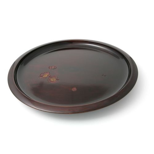 尺1丸茶盆 木地呂塗 梅彫