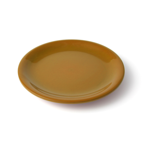 6寸 皿 からし塗