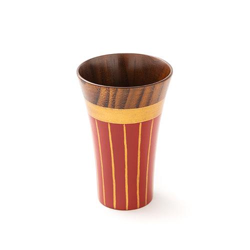 ゴールドラインカップ  彩漆塗・赤(小)