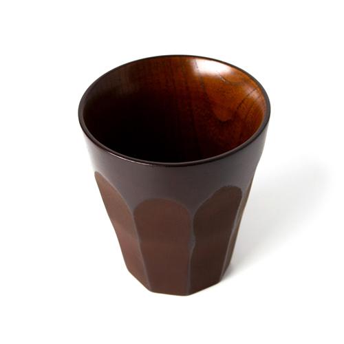 菊彫カップ 大 (紅象谷塗)